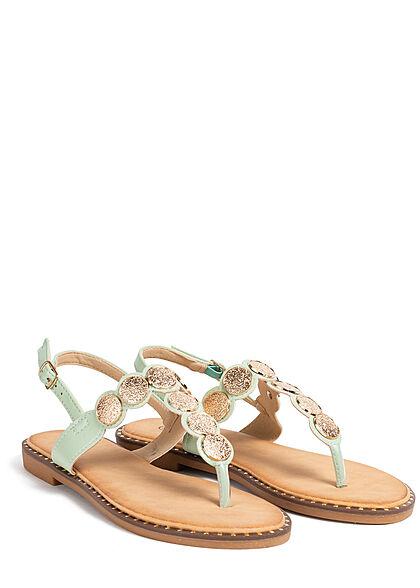 Seventyseven Lifestyle Damen Schuh Zehensteg Sandale Deko Plättchen vorne hell grün