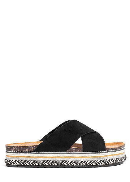 Seventyseven Lifestyle Damen Schuh Riemen Sandale in Velouroptik schwarz