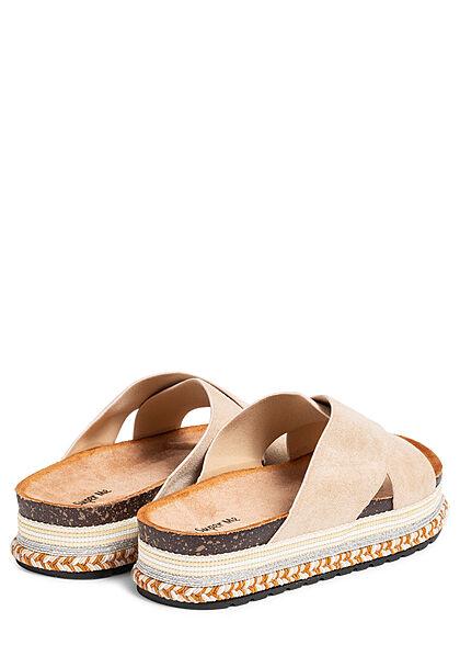 Seventyseven Lifestyle Damen Schuh Riemen Sandale in Velouroptik beige