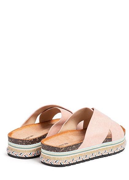 Seventyseven Lifestyle Damen Schuh Riemen Sandale in Velouroptik rosa