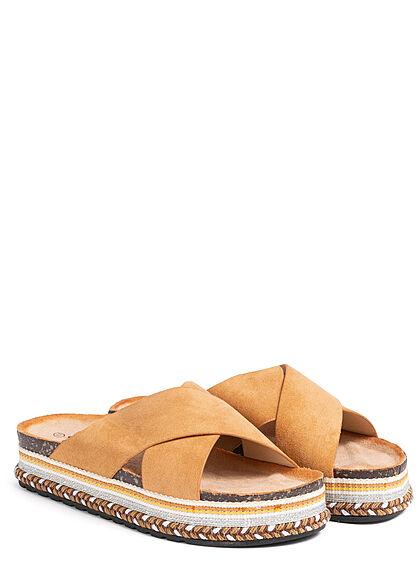 Seventyseven Lifestyle Damen Schuh Riemen Sandale in Velouroptik camel braun