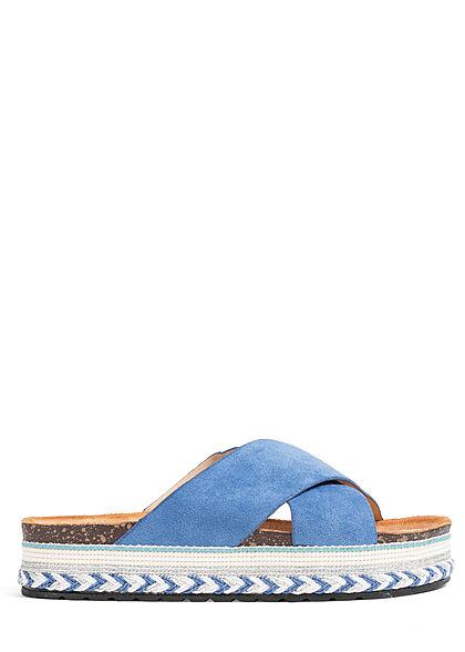 Seventyseven Lifestyle Damen Schuh Riemen Sandale in Velouroptik blau
