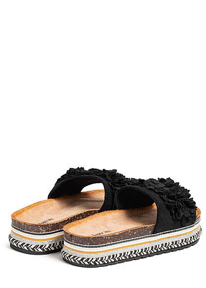 Seventyseven Lifestyle Damen Schuh Materialmix Sandale mit Tüll Blumen schwarz