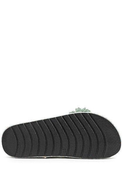 Seventyseven Lifestyle Damen Schuh Materialmix Sandale mit Tüll Blumen grün