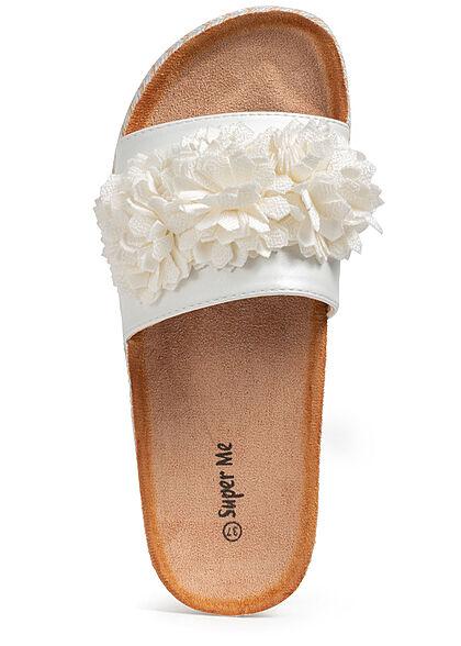 Seventyseven Lifestyle Damen Schuh Materialmix Sandale mit Tüll Blumen weiss