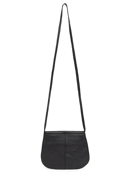 Pieces Damen NOOS Mini Leder Handtasche 18 x 15 cm schwarz