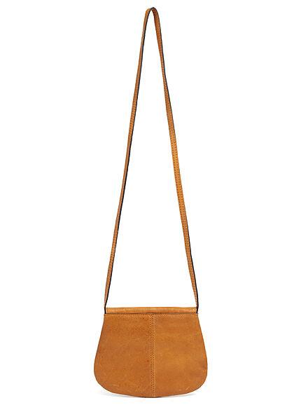 Pieces Damen NOOS Mini Leder Handtasche 18 x 15 cm cognac braun