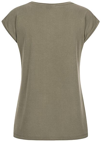 Pieces Damen NOOS V-Neck T-Shirt deep lichen grün