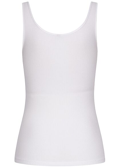 Pieces Damen NOOS Ribbed Tank Top Knopfleiste bright weiss