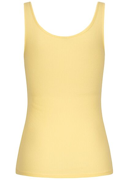 Pieces Damen NOOS Ribbed Tank Top Knopfleiste pale banana gelb