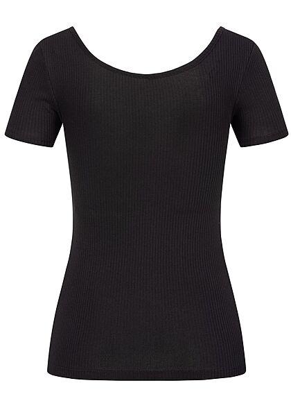 Pieces Damen NOOS Ribbed T-Shirt Knopfleiste schwarz