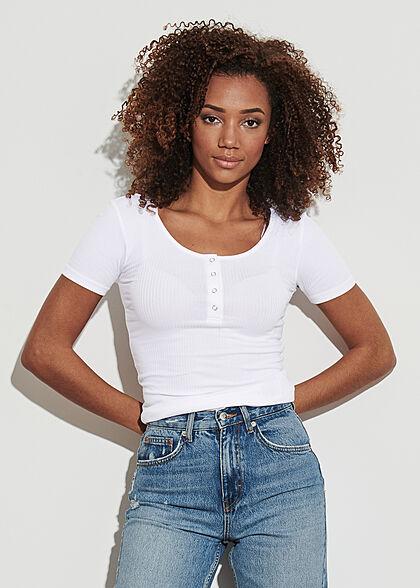 Pieces Damen NOOS Ribbed T-Shirt Knopfleiste bright weiss