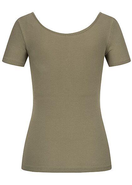 Pieces Damen NOOS Ribbed T-Shirt Knopfleiste deep lichen grün