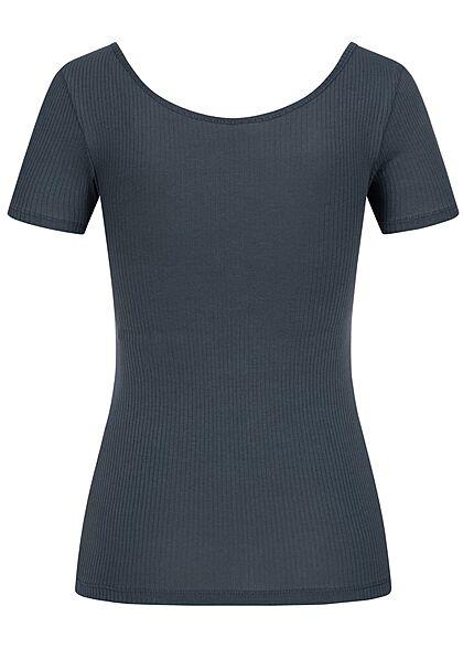 Pieces Damen NOOS Ribbed T-Shirt Knopfleiste ombre blau