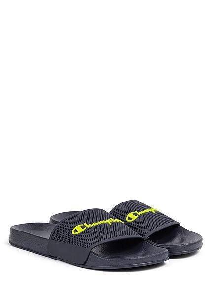 Champion Herren Schuh Sandale Logo Print schwarz navy blau neon gelb