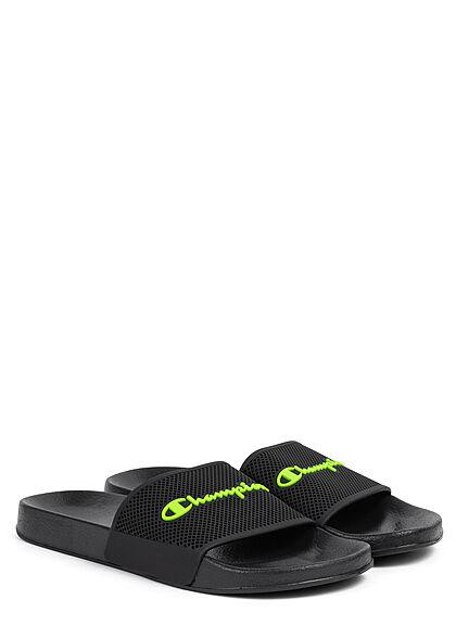 Champion Herren Schuh Sandale Logo Print schwarz neon grün