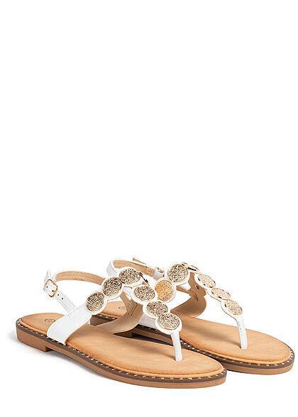 Seventyseven Lifestyle Damen Schuh Zehensteg Sandale Deko Plättchen vorne weiss