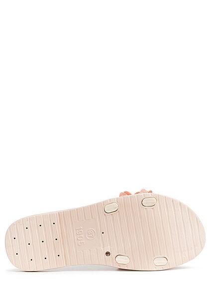 Seventyseven Lifestyle Damen Schuh Sandale Deko Blumen Applikation pink