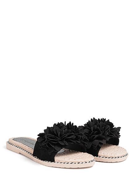 Seventyseven Lifestyle Damen Schuh Sandale Deko Blumen Applikation schwarz