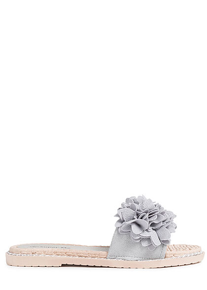 Seventyseven Lifestyle Damen Schuh Sandale Deko Blumen Applikation grau