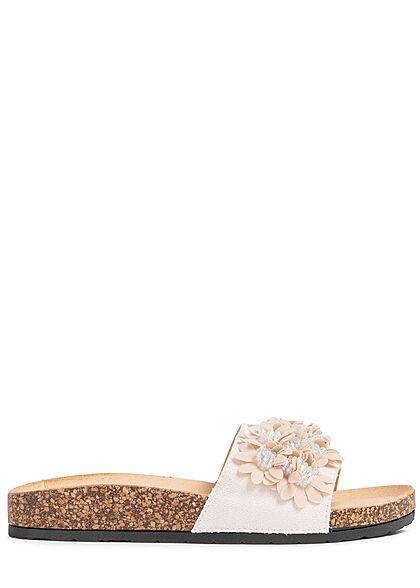 Seventyseven Lifestyle Damen Schuh Sandale Deko Blumen Applikation cream beige