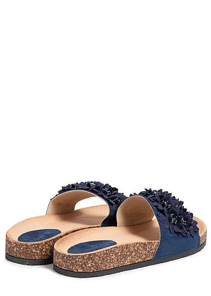 Seventyseven Lifestyle Damen Schuh Sandale Deko Blumen Applikation dunkel blau
