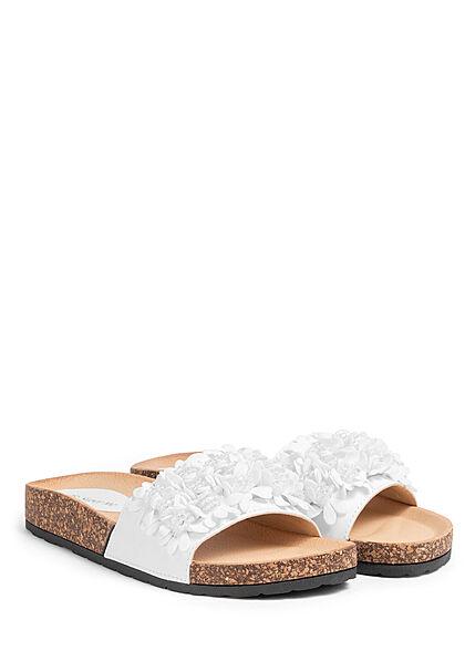 Seventyseven Lifestyle Damen Schuh Sandale Deko Blumen Applikation weiss