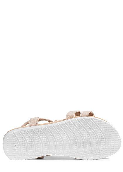 Seventyseven Lifestyle Damen Schuh Riemen Sandale Deko Blumen Applikation cream beige