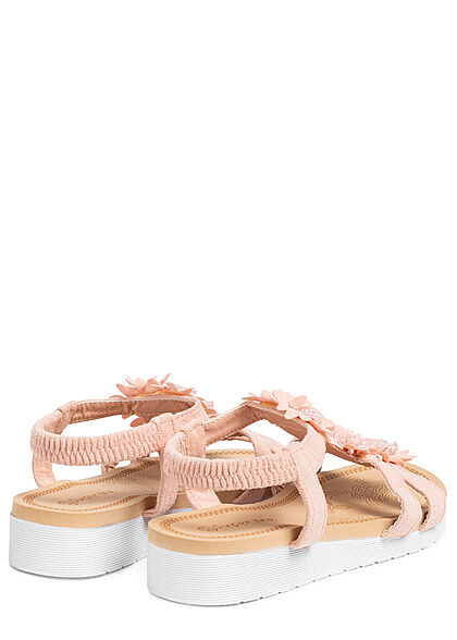 Seventyseven Lifestyle Damen Schuh Riemen Sandale Deko Blumen Applikation pink