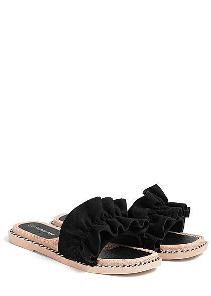 Seventyseven Lifestyle Damen Schuh Sandale Deko Applikation Raffung schwarz