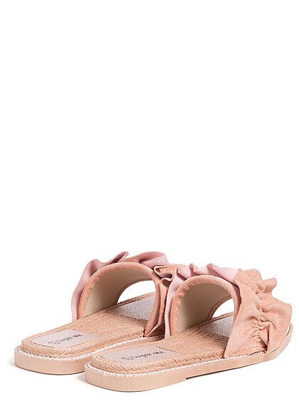 Seventyseven Lifestyle Damen Schuh Sandale Deko Applikation Raffung pink
