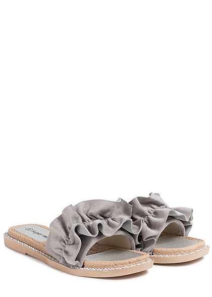 Seventyseven Lifestyle Damen Schuh Sandale Deko Applikation Raffung grau