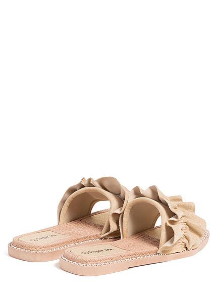 Seventyseven Lifestyle Damen Schuh Sandale Deko Applikation Raffung beige
