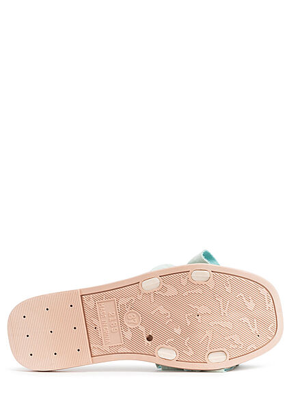Seventyseven Lifestyle Damen Schuh Sandale Deko Applikation Raffung grün