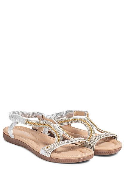 Seventyseven Lifestyle Damen Schuh Riemen Sandale Strasssteine silber