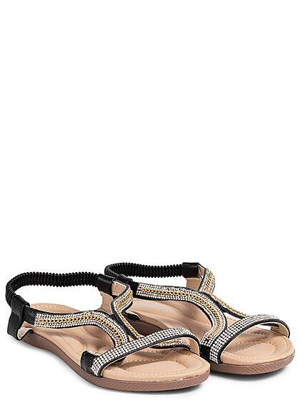 Seventyseven Lifestyle Damen Schuh Riemen Sandale Strasssteine schwarz
