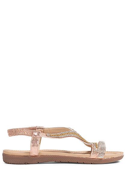 Seventyseven Lifestyle Damen Schuh Riemen Sandale Strasssteine champagne rose