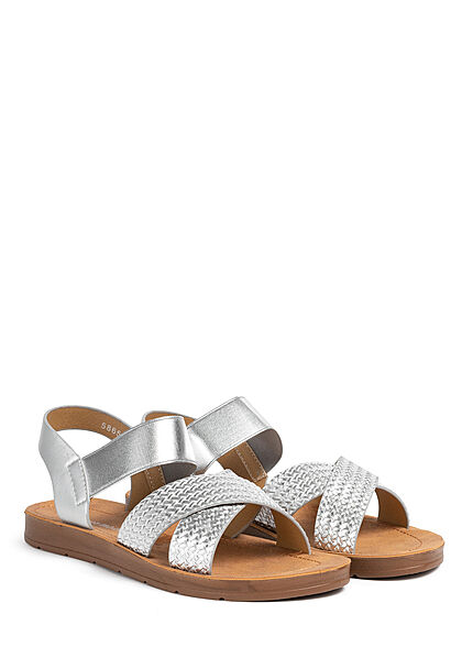 Seventyseven Lifestyle Damen Schuh Riemen Sandale Flechtoptik metallic silber
