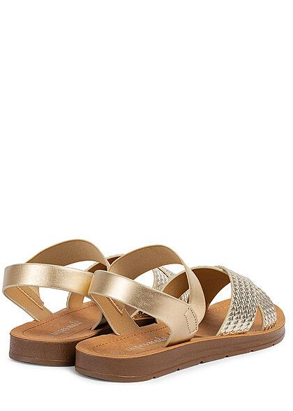 Seventyseven Lifestyle Damen Schuh Riemen Sandale Flechtoptik metallic gold