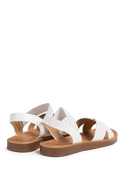 Seventyseven Lifestyle Damen Schuh Riemen Sandale Flechtoptik metallic weiss