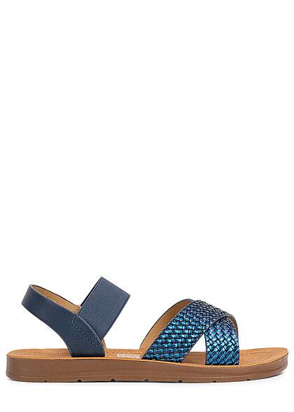 Seventyseven Lifestyle Damen Schuh Riemen Sandale Flechtoptik metallic blau