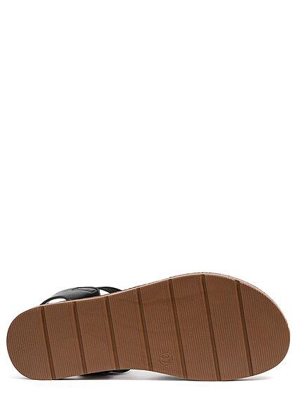 Seventyseven Lifestyle Damen Schuh Riemen Sandale Flechtoptik metallic schwarz