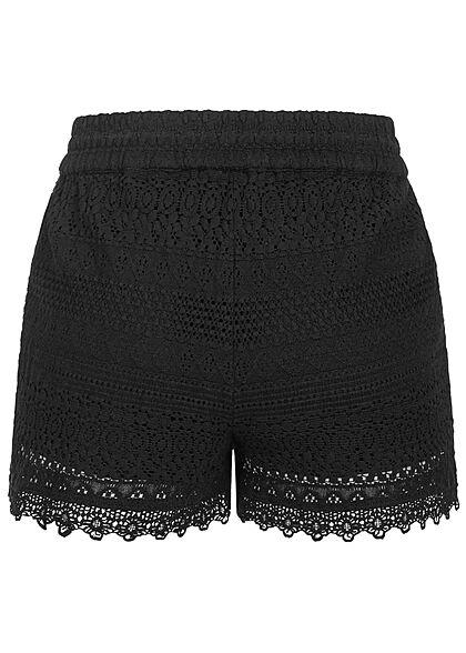 Vero Moda Damen kurze Shorts Spitzenbesatz Tunnelzug schwarz