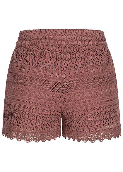 Vero Moda Damen kurze Shorts Spitzenbesatz Tunnelzug rosa braun