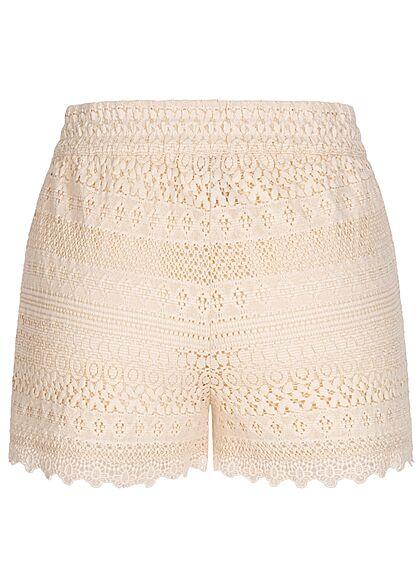 Vero Moda Damen kurze Shorts Spitzenbesatz Tunnelzug sandshell beige