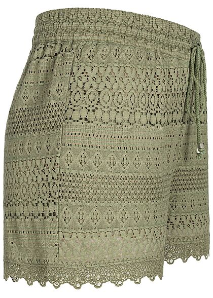 Vero Moda Damen kurze Shorts Spitzenbesatz Tunnelzug oil grün