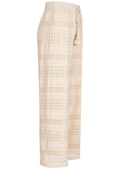 Vero Moda Damen weite High-Waist Hose Sturkturstoff Tunnelzug sandshell beige