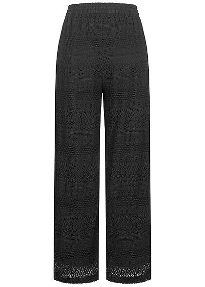 Vero Moda Damen weite High-Waist Hose Sturkturstoff Tunnelzug schwarz