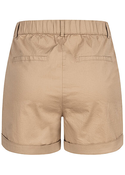 Vero Moda Damen High-Waist Shorts Beinumschlag 4-Pockets nomad beige