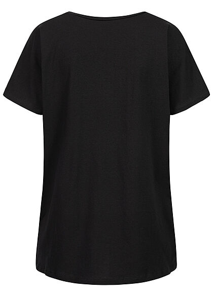 Hailys Damen Oversized T-Shirt Vokuhila Frontpatch mit Spruch schwarz multicolor